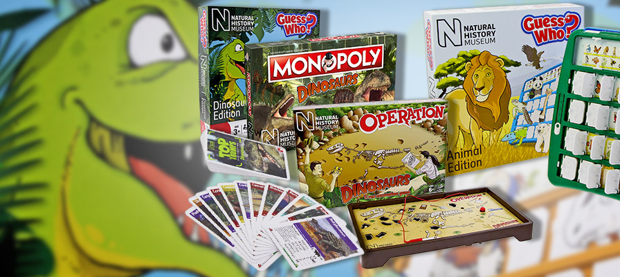 NHM board games - dinosaur Guess who, Monopoly dinosaurs, dinosaurs Operation and animals Guess who