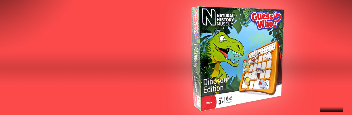 Dinosaur Guess Who board game on a red background