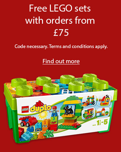 A LEGO Duplo set on a red background. The text reads 'Free LEGO sets with orders from £75. Code necessary. Terms and conditions apply. Find out more.'