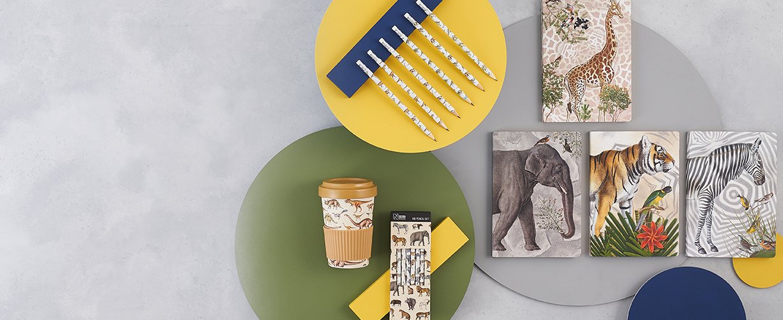 New dino and safari stationery, notebooks and bamboo travel mugs