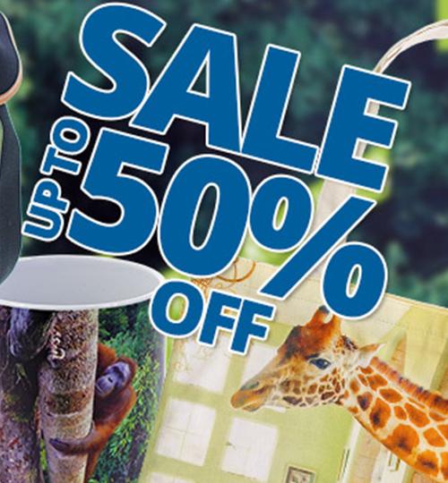 Text saying Up to 50% off next to a giraffe tote bag and an orang-utan mug