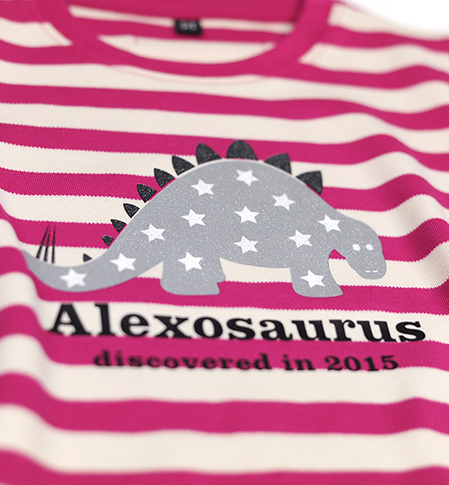 Pink and striped Stegosaurus personalised top. text says 'Alexosaurus Discovered in 2015 - free delivery over £30 - Natural History Museum online shop