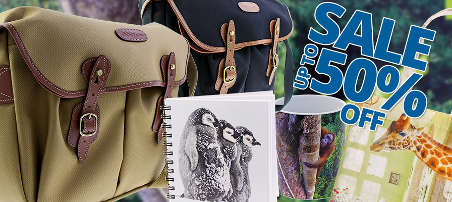 Up to 50% off sale - Billingham camera bags, penguin notebook, orangutan mug, giraffe tote bag