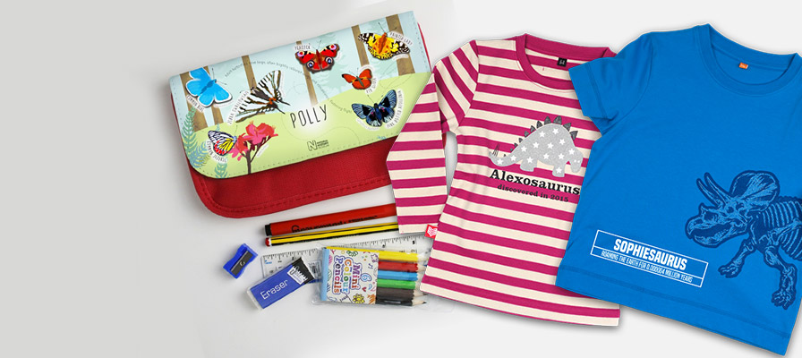 Personalised t-shirts and pencil case
