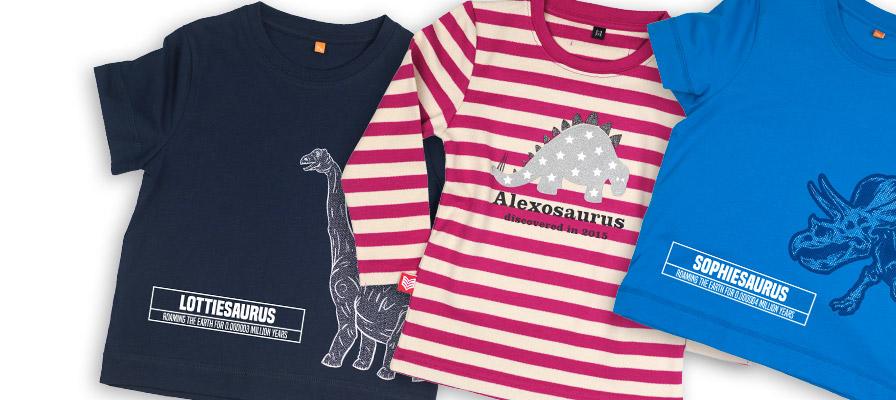 close up of personalised dinosaur t-shirts