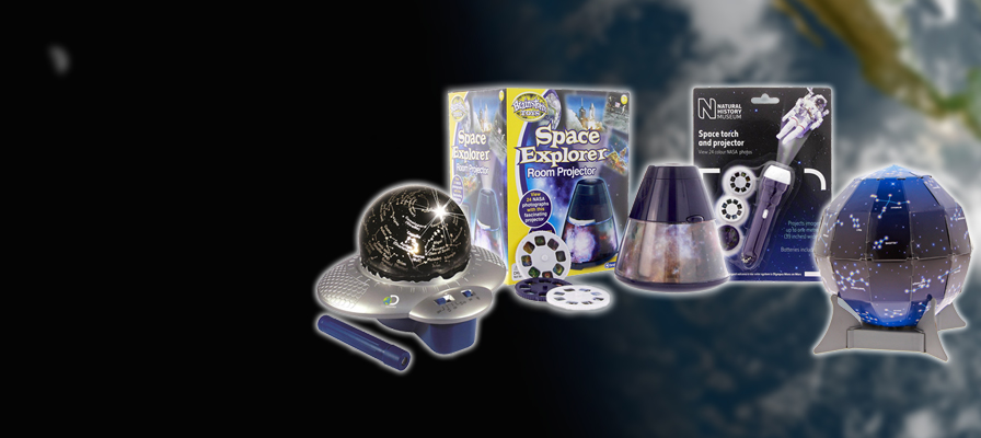 A range of space-themed projectors in front of a blurred space background