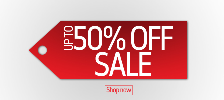 Up to 50% off sale tag