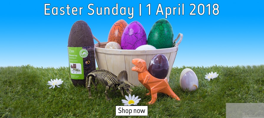 Dinosaur egg cups on grass in front of a basket of the dinosaur hatching eggs