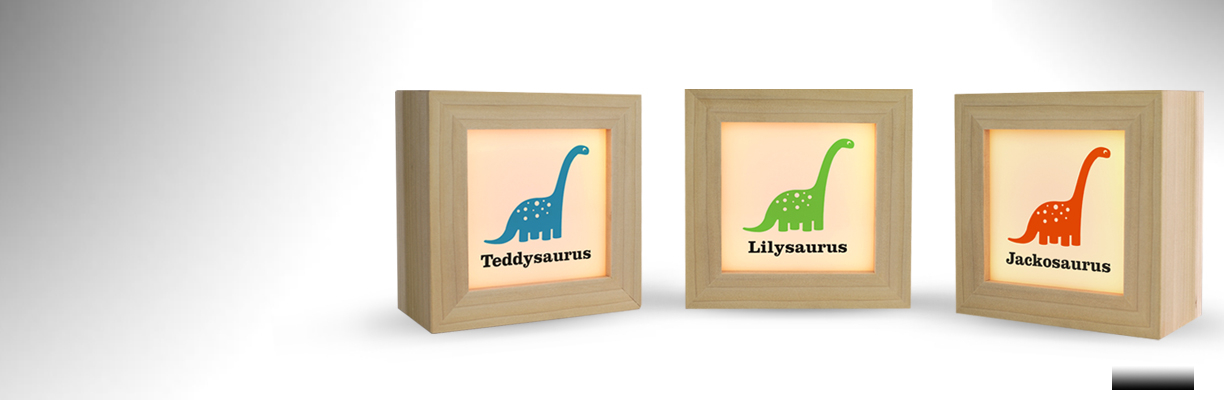 Three Personalised Dippy lightboxes