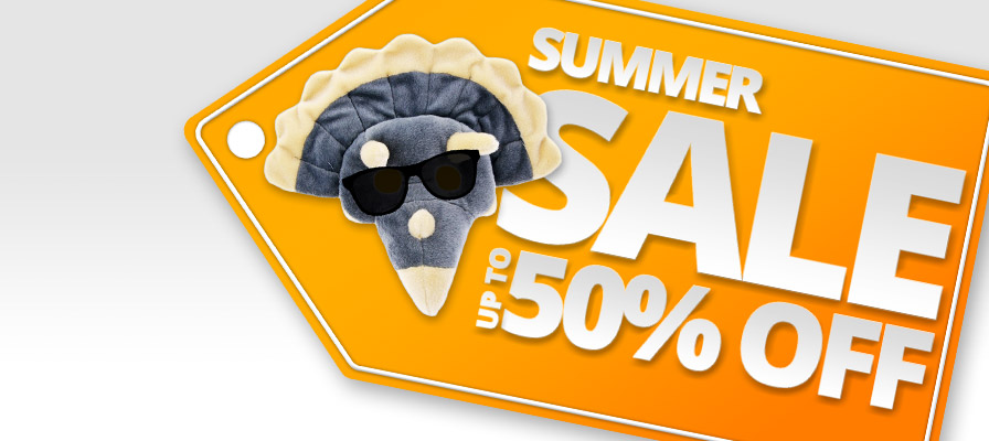 Summer sale - Up to 50% off tag - Triceratops in sunglasses