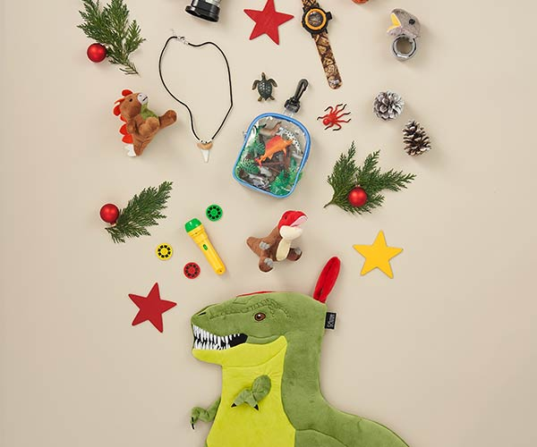 Stocking fillers and Dino Christmas stocking for kids